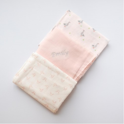 Muslin Squares 3 Pack - Pink Woodlands (Out of Stock)