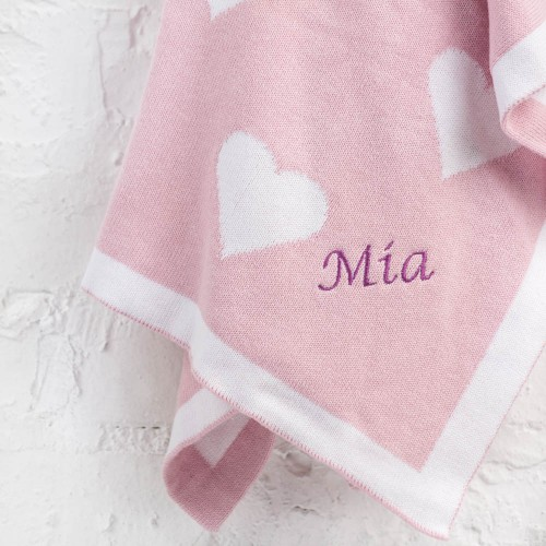 Soft Knit Blanket - Pink Heart (Out of Stock)