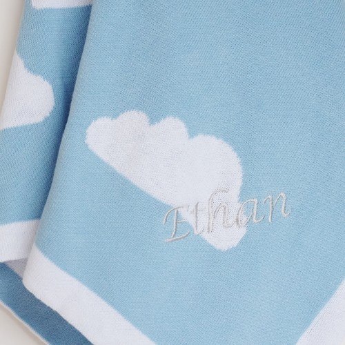 Soft Knit Blanket - Blue Clouds