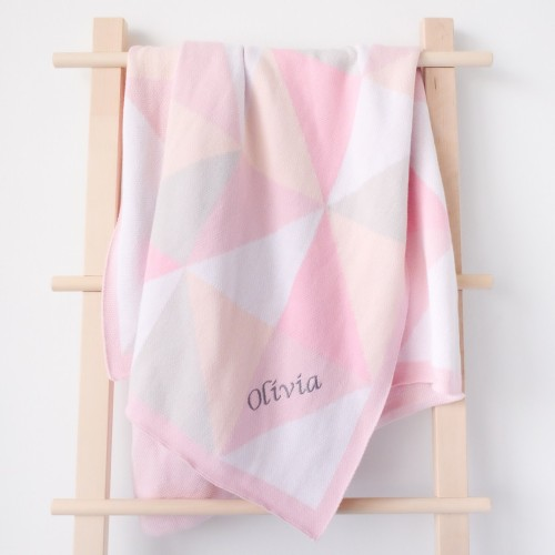 Geometric Knit Blanket - Peony (Out of Stock)