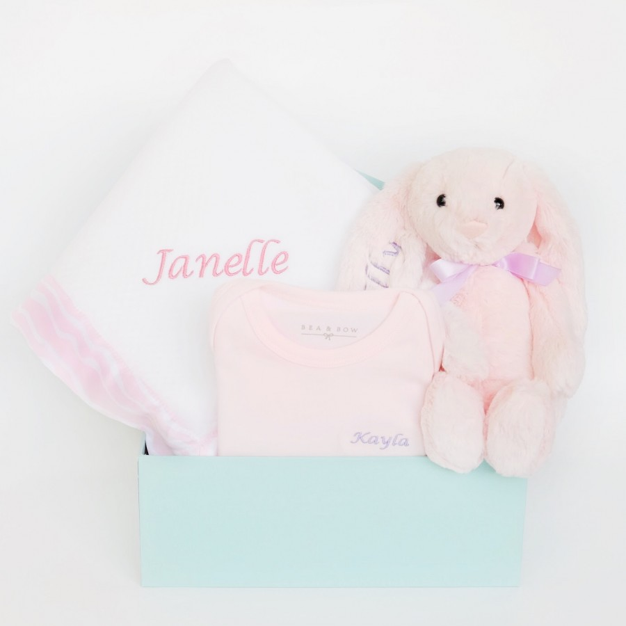 Hello World! Baby Girl Box (with Pink Dusk Soothing Blanket)
