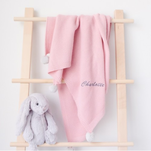 Pom Pom Blanket - Dusty Rose (Out of Stock)