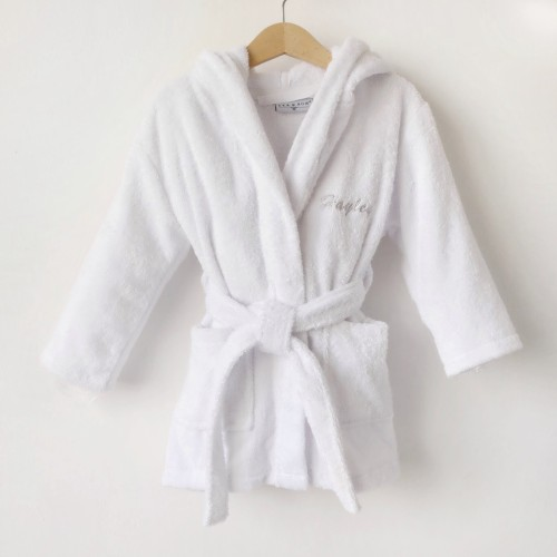 Hooded Bathrobe - White