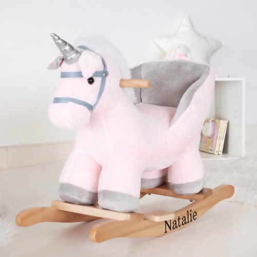 Pink Unicorn Plush Rocker