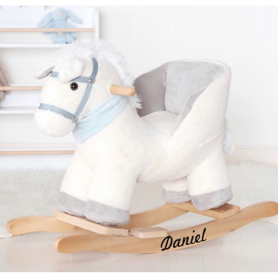White Horse Plush Rocker