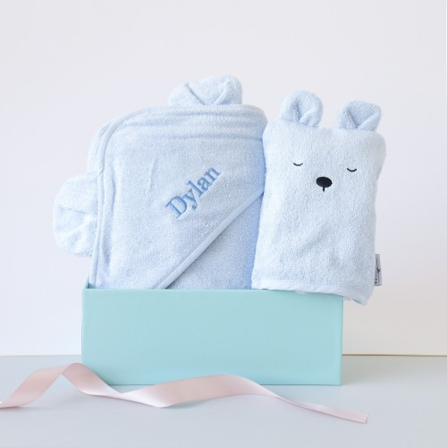 Blue Bear Hooded Towel & Bath Mitt