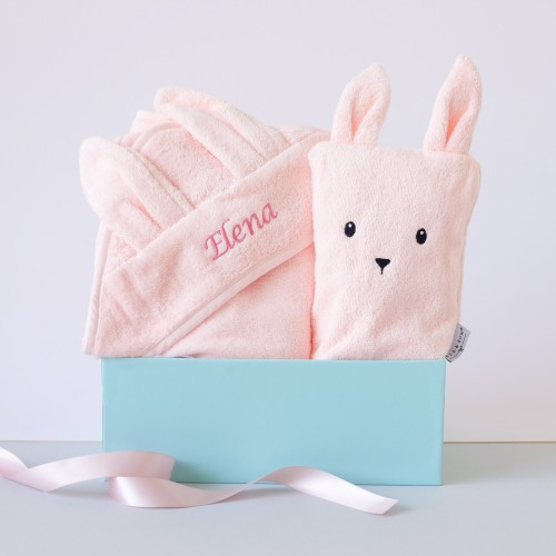 Blush Bunny Hooded Towel & Bath Mitt (Out of Stock)